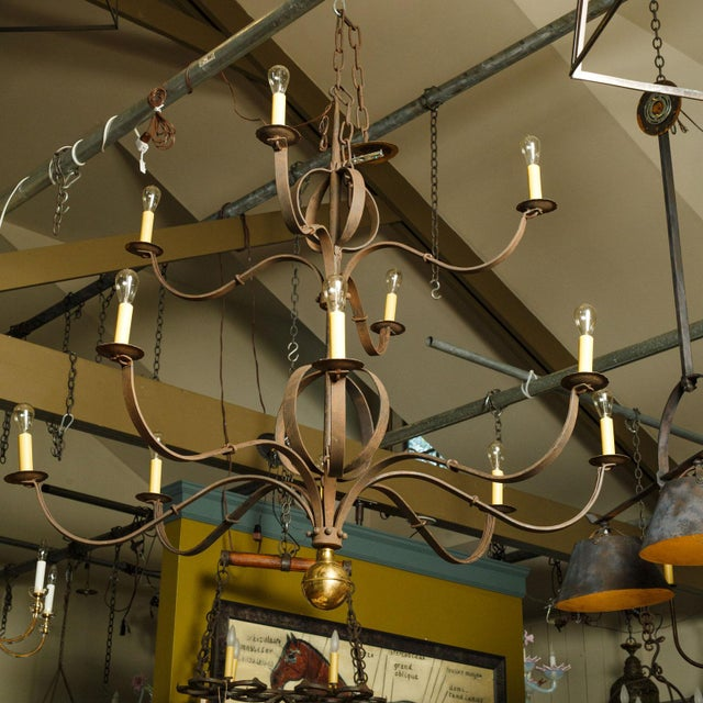 Gold Monumental Two-Tier Forged Iron Chandelier For Sale - Image 8 of 10
