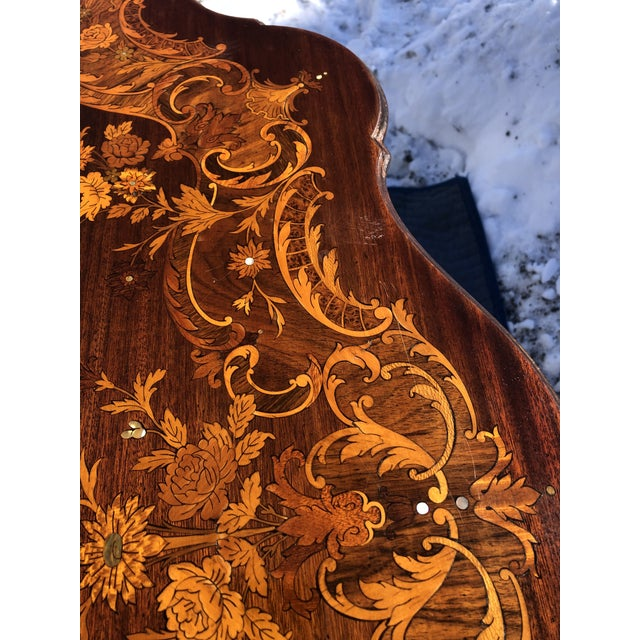 Wood Louis XV Style Mahogany and Satinwood Marquetry Inlaid Center Table For Sale - Image 7 of 13