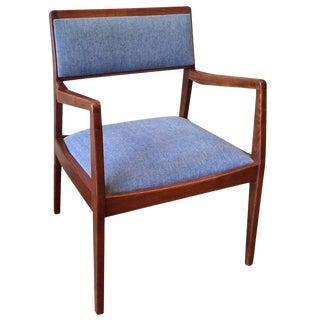 "Jens Risom Walnut Upholstered ""Playboy"" Armchair For Sale"