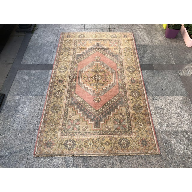 Handwoven Antique Turkish Wool Rug - 3′7″ × 5′11″ For Sale - Image 10 of 10