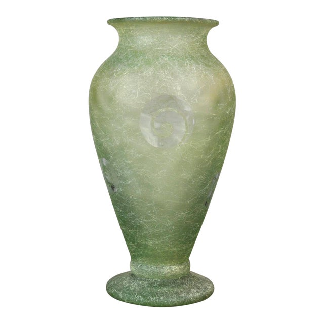 1920s Vintage French Large Molded Green Art Glass Vase Moul Press