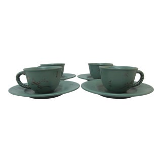 Emilia Castillo Plata Pura Mexico Silver Dragonfly & Lizard Cup Saucer Set of 4 For Sale