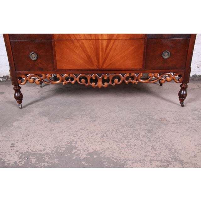 1920s Early Herman Miller Carved Walnut and Burl Wood Five-Drawer Dresser With Mirror, Circa 1920s For Sale - Image 5 of 13