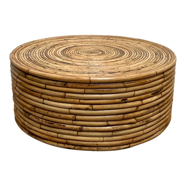 1980s Boho Chic Crespi Style Pencil Reed Rattan Cocktail Table For Sale