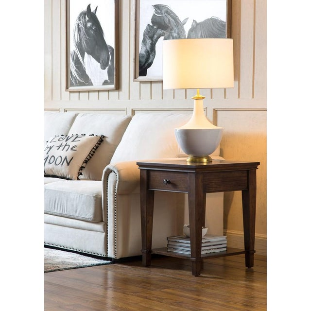 White Ceramic Table Lamp With Shade For Sale In Greensboro - Image 6 of 10