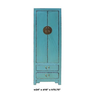 Oriental Distressed Light Aqua Blue Lacquer Moonface Slim Storage Cabinet Preview