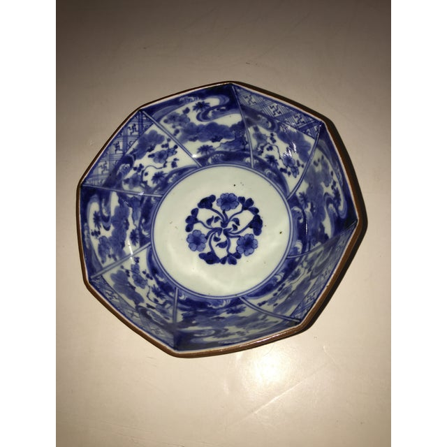 A beautiful blue and white small Porcelain Bowl with wonderful fine details. Minor nicks so outside rim.