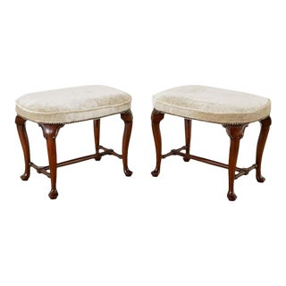 Pair of Queen Anne Style Mahogany and Velvet Footstools For Sale