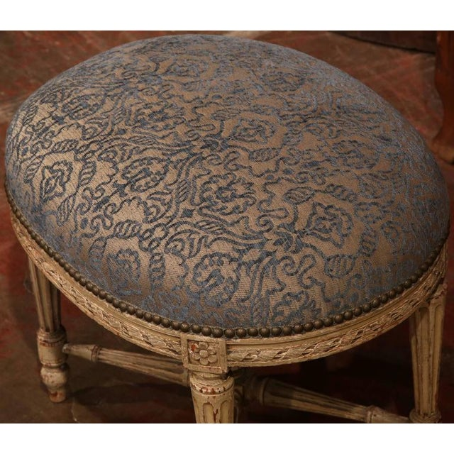 Louis XVI 19th Century French Louis XVI Carved Painted Stool For Sale - Image 3 of 7