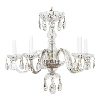 Five Light Petite Bohemian Crystal Chandelier For Sale