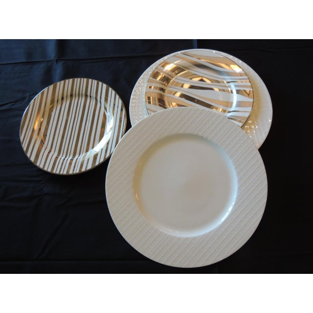 Art Deco Set of (4) Gold and White Porcelain Plates For Sale - Image 3 of 5