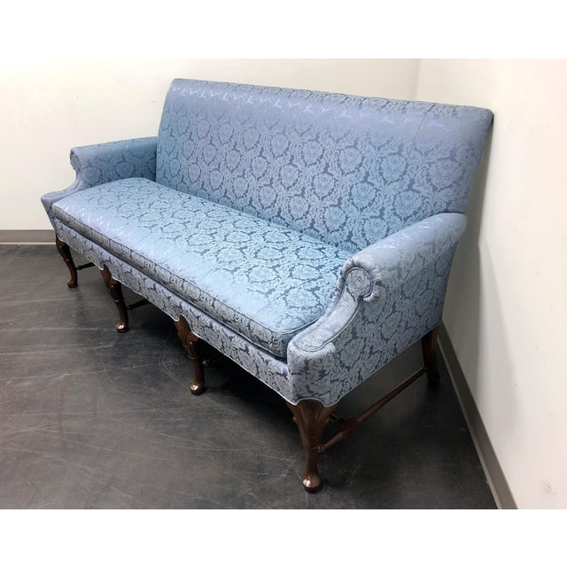 Queen Anne Hickory Chair Queen Anne Sofa Settee in Blue Brocade For Sale - Image 3 of 13