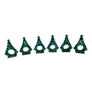20th Century Americana Ceramic Holiday Tree Napkin Rings - Set of 6 For Sale