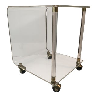 Lucite Double Tiered Side Table With Brass Detail and Casters For Sale