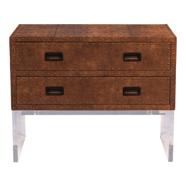 Sarreid Brass Tack Trunk on Stand For Sale