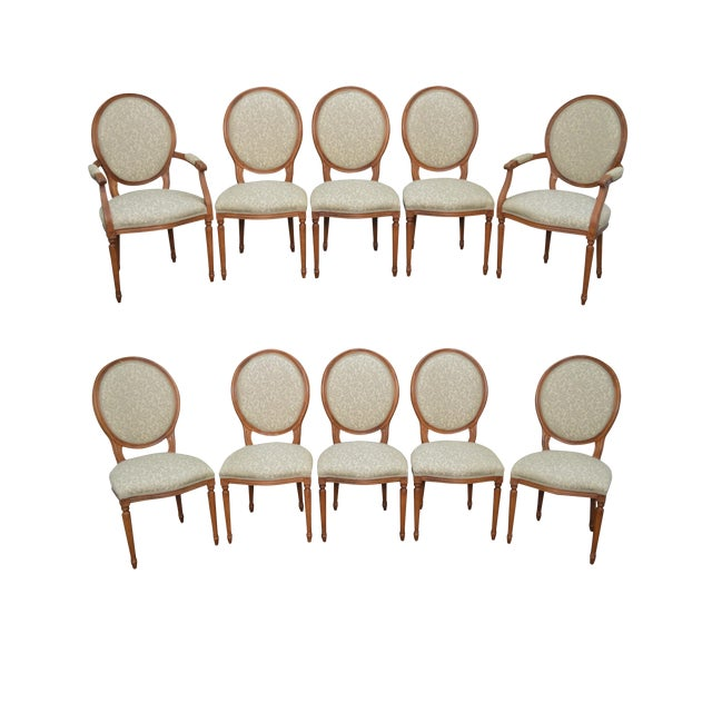 Statesville Chair Co. Set of 10 Walnut Frame French Louis XV Style Dining Chairs For Sale