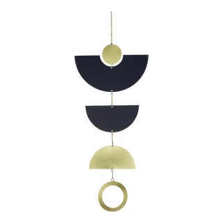 Geometric Brass and Navy Wall Hanging For Sale