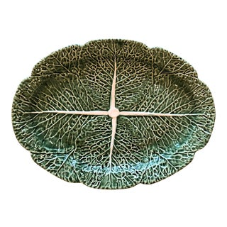 Traditional Oval Cabbage Leaf Platter For Sale