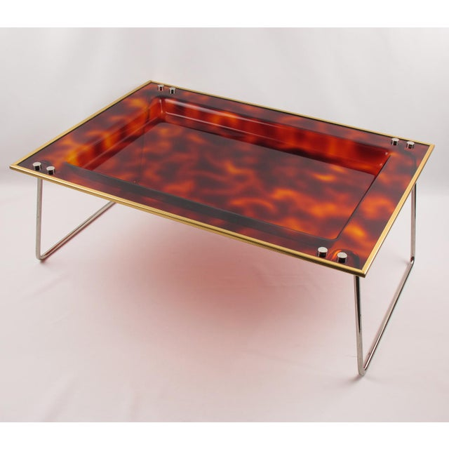 Metal Mid-Century Italian Tortoise Lucite Barware Folding Serving Tray For Sale - Image 7 of 11