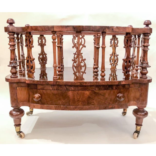 Antique English 19th Century Burled Walnut Canterbury.