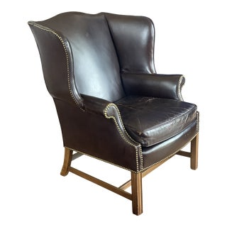 Vintage Chocolate Brown Leather Wingback Chair For Sale