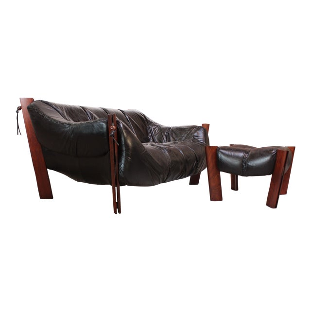 Percival Lafer MP-211 Jacaranda and Leather Two-Seat Sofa with Ottoman - Image 1 of 10