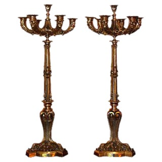 French Empire Figural Gold Bronze Candelabras - A Pair For Sale