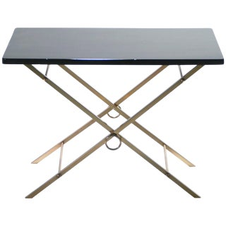 French Midcentury Black Lacquer and Brass Side Table Adnet Style, 1960s For Sale