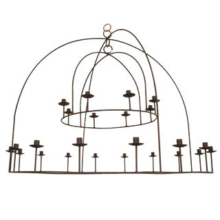 Custom Two-Tiered Iron Chandelier Designed by Michael Del Piero For Sale