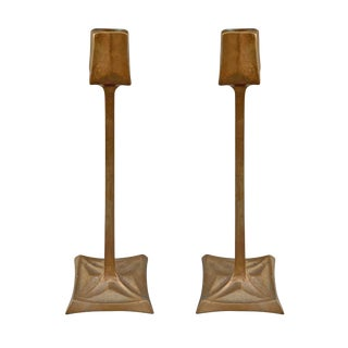 Early 20th Century Vintage Viennese Secession Bronze Candlesticks - a Pair For Sale