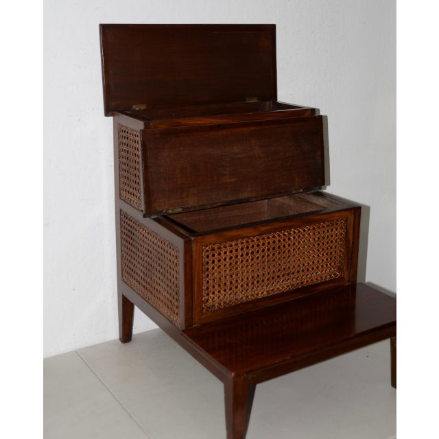 Arts & Crafts 18th to 19th Century French Mahogany & Cane Steps For Sale - Image 3 of 9