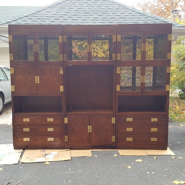 Henredon Campaign Illuminated Cabinets - Set of 3 - Image 2 of 11