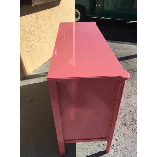 Pink Hollywood Regency Lacquered Pink Faux Bamboo 6 Drawer Lowboy Dresser For Sale - Image 8 of 12