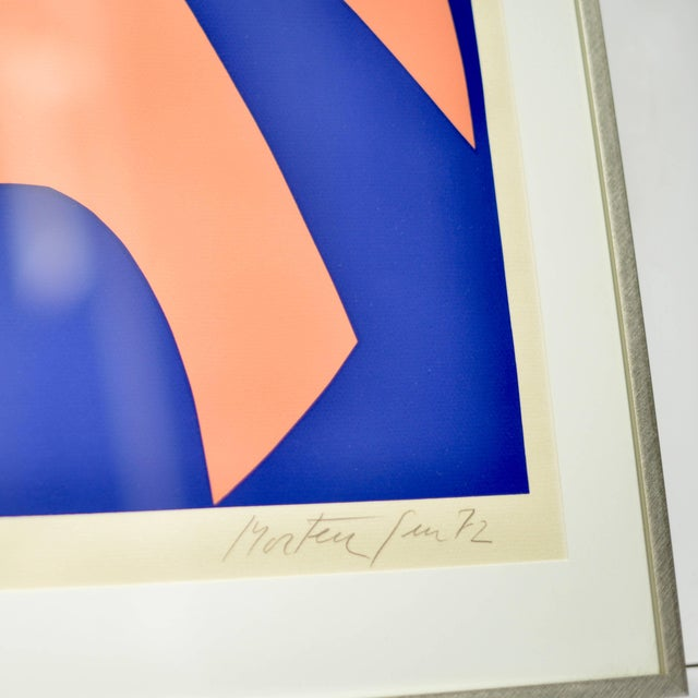 Pink, peach and blue abstract composition by listed Danish artist Richard Mortensen. This piece is framed, signed and...
