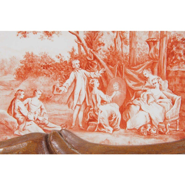 19th Century French Carved & Hand-Painted Pastoral Scenes Tile Jewelry Box - Image 8 of 9