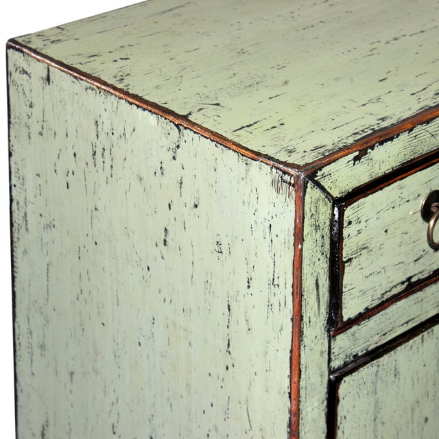 Distressed Side Chest in Sage For Sale In San Francisco - Image 6 of 7