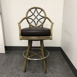 McGuire Villandry Swivel Bamboo + Leather Arm Barstool Preview