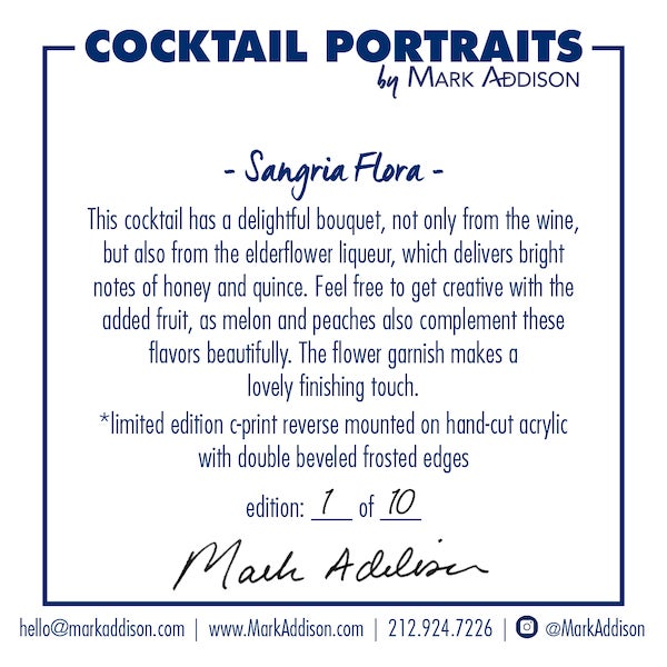 "Mark Addison's signature Cocktail Portraits are direct from the pages of his ""Best in the World"" award-winning book..."