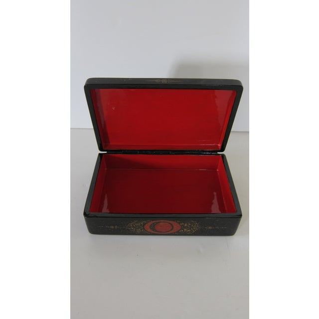Russian Lacquered Hinged Box For Sale - Image 4 of 7