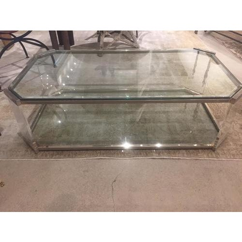 Brass Vintage Glass and Brass Cocktail Table, C.1970 For Sale - Image 8 of 9