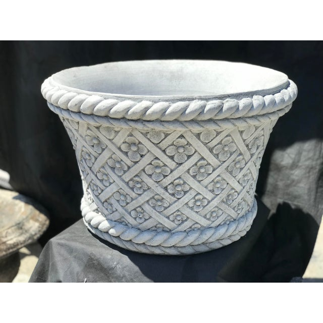 Handmade in Spain. Made of carved stone. Basketweave with floral details. Heavy piece.