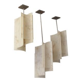 Large Geometric Alabaster Triple Pendant Light Installation - Set of 3 For Sale