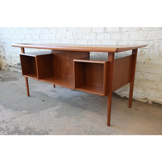 Danish Modern Teak Floating Top Desk by Peter Løvig Nielsen for Lovig Dansk, 1969 For Sale In South Bend - Image 6 of 13