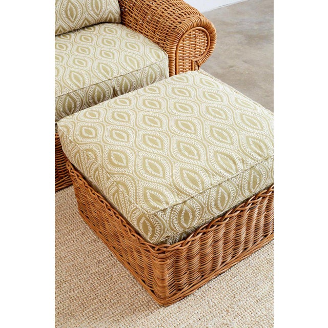Green Michael Taylor Style Wicker Lounge Chairs and Ottomans For Sale - Image 8 of 13