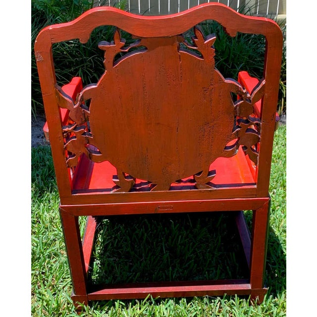Red Chinese Red Lacquer and Gilt Throne Chairs - a Pair For Sale - Image 8 of 13