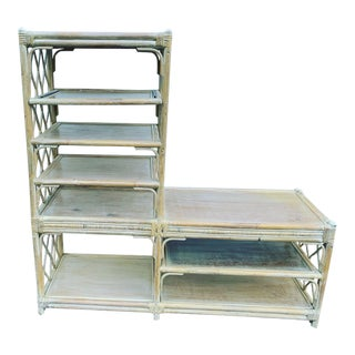 Vintage Bamboo Etagere Shelving Unit For Sale