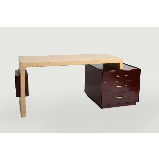 Paul Frankl for Johnson Furniture Co Cork and Mahogany desk Grand Rapids, Michigan USA 1950's Original cork surface,...