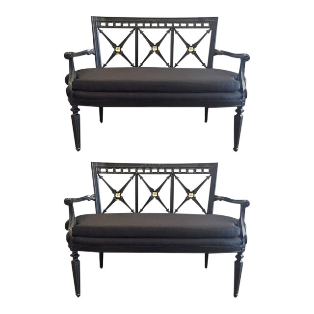 Pair of Louis XIV Style Loveseats - Image 1 of 9