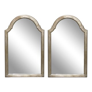 Pair of English Queen Anne Style Silver-Leafed Giltwood Mirrors For Sale