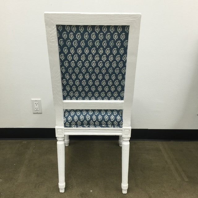 White French Style Dining Chairs in Batik Fabric - Set of 6 For Sale - Image 5 of 10